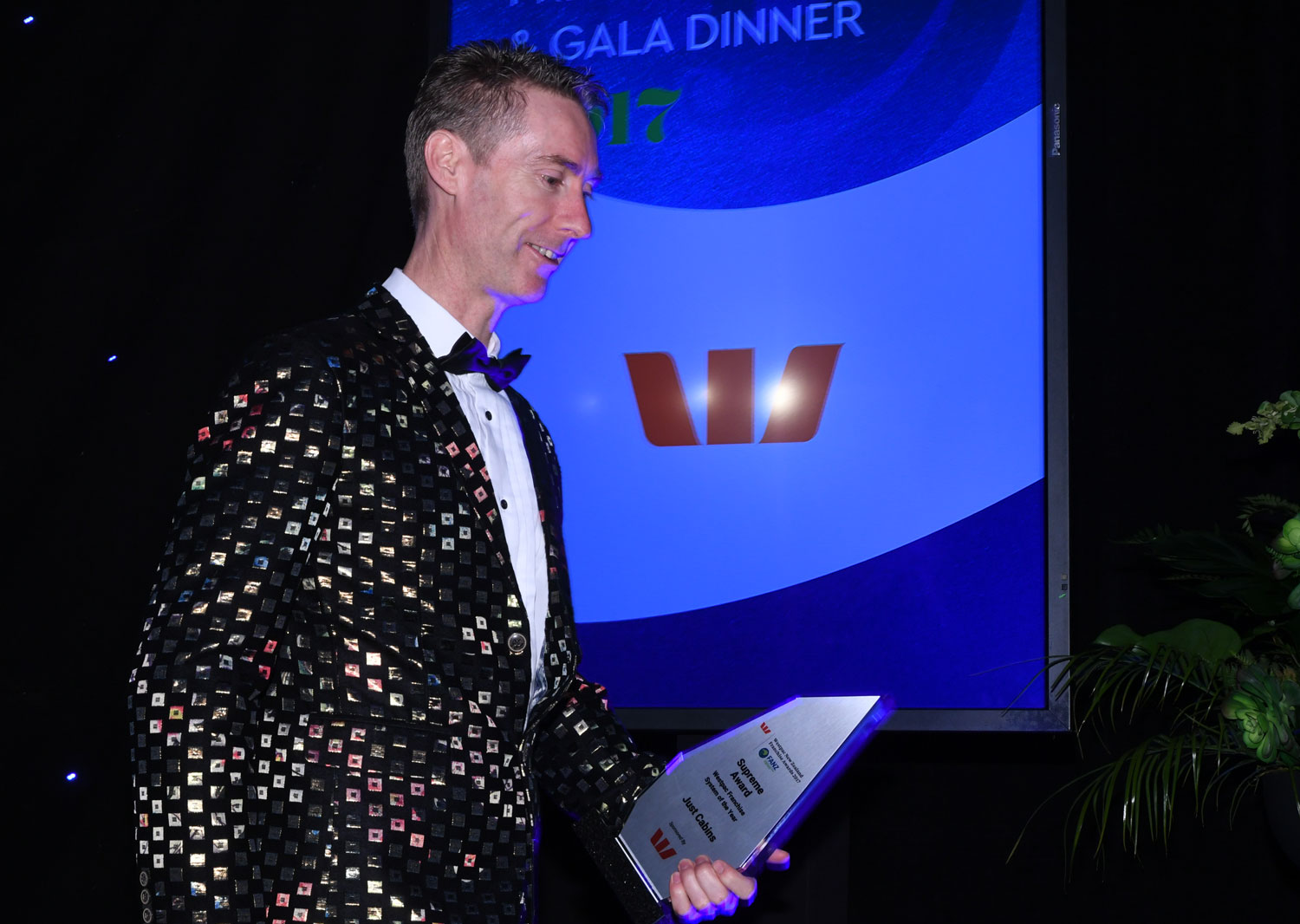 Just Cabins franchisee-turned-franchisor Fenton Peterken took home the Westpac Supreme Franchise System of the Year Award - and the prize for best jacket.