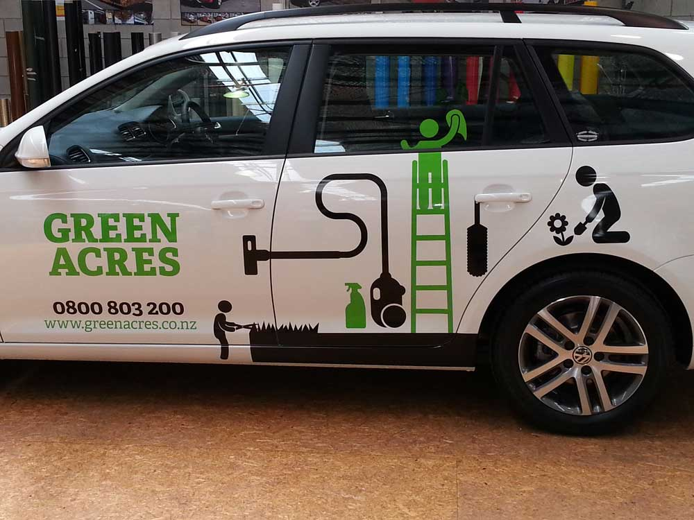 Implements and figures demonstrate the range of Green Acres services