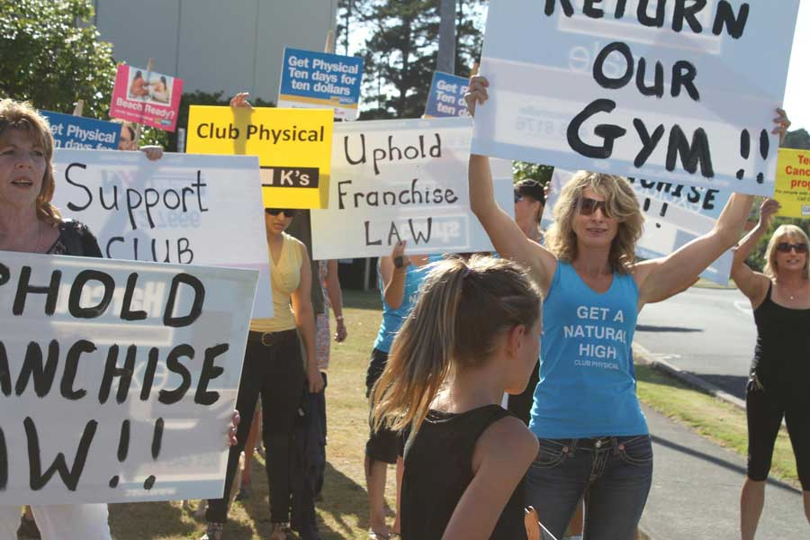 Demonstrators outside Club Physical, Westgate, which was re-branded by a franchisee.