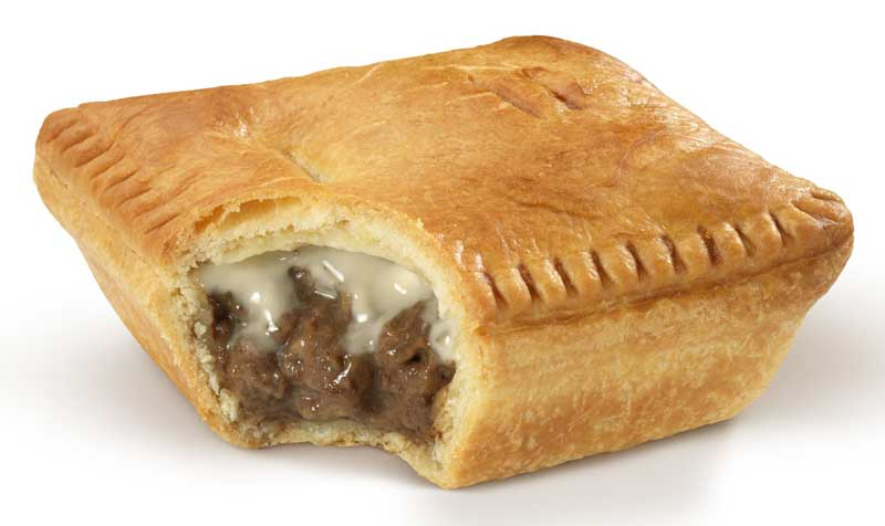 An official product shot of Georgie Pie's Steak Mince 'n' Cheese pie - 2013 model
