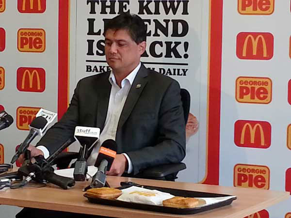 McDonald's NZ managing director Patrick Wilson announces the trial return of Georgie Pie