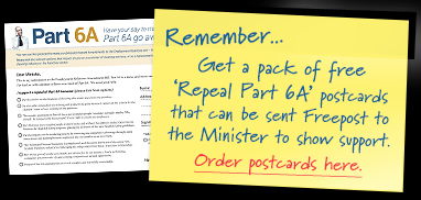 The website encourages readers to bombard the Minister of Labour with postcards as well as submissions.
