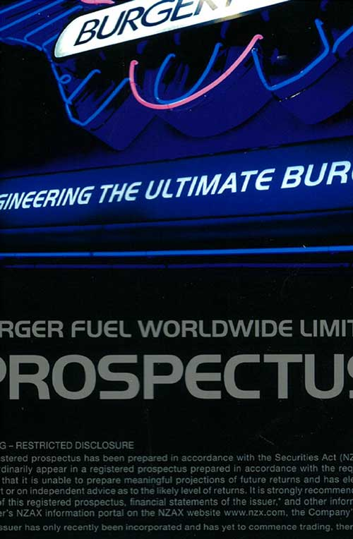 Detail from the cover of BurgerFuel's prospectus for investors from June 2007