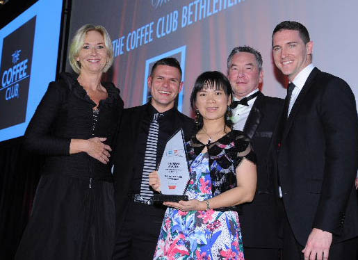 The winners (left to right): Joy Marslin of major sponsors Westpac; Brad Jacobs of The Coffee Club; double Supreme Franchisee Ivy Joe; Ian Robertson, chairman of the Franchise Association; Andy Lucas of The Coffee Club.