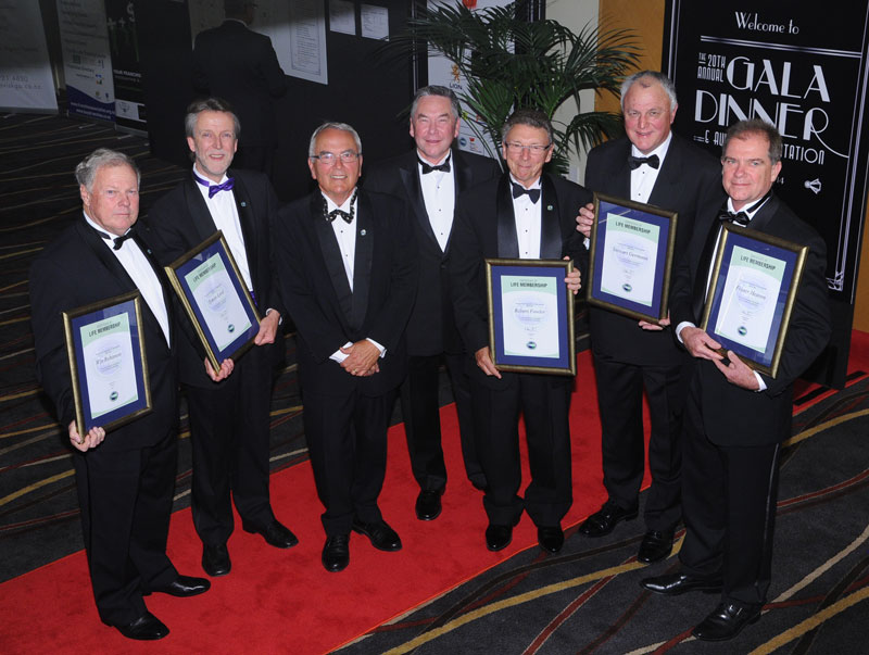 From left to right: Win Robinson; Simon Lord; David McCulloch; Ian Robertson (current FANZ Chairman); Robert Fowler; Stewart Germann; Fraser Heaven