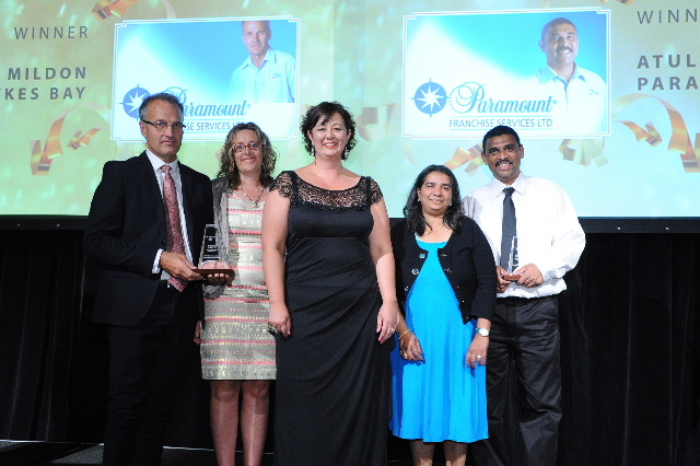 Kenina Court of sponsors Crowe Horwath is flanked by Bruce and Sara Mildon (left) and Atul and Usha Patel (right)