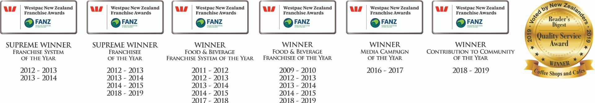 The Coffee Club awards logos